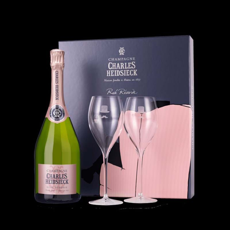 CHARLES HEIDSIECK Armchair Brut Reserve Rose Bottle & 2 Flutes GIFT PACK - NO DISCOUNT Image