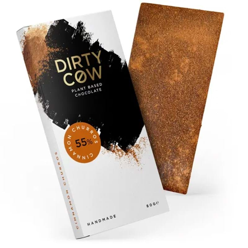 DIRTY COW Cinnamon Churros 55% Plant Based Handmade Chocolate - 80g Bar Image