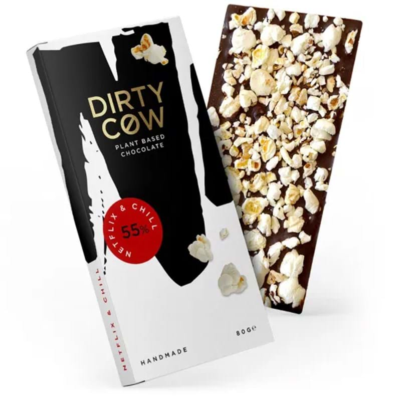 DIRTY COW Netflix & Chill 55% Plant Based Handmade Chocolate - 80g Bar Image