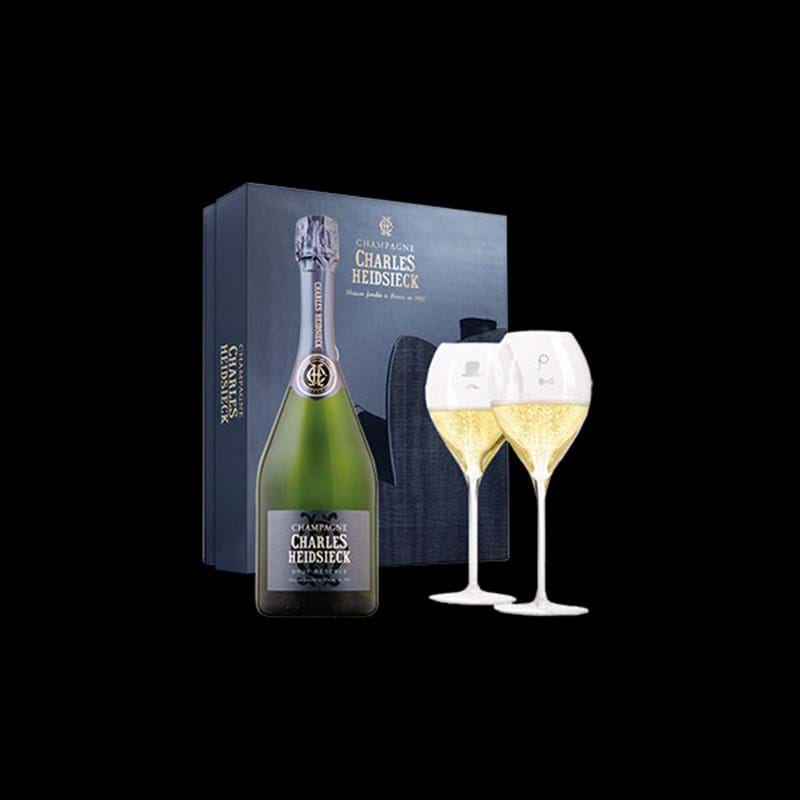 CHARLES HEIDSIECK Armchair Brut Reserve Bottle & 2 Flutes GIFT PACK - NO DISCOUNT Image